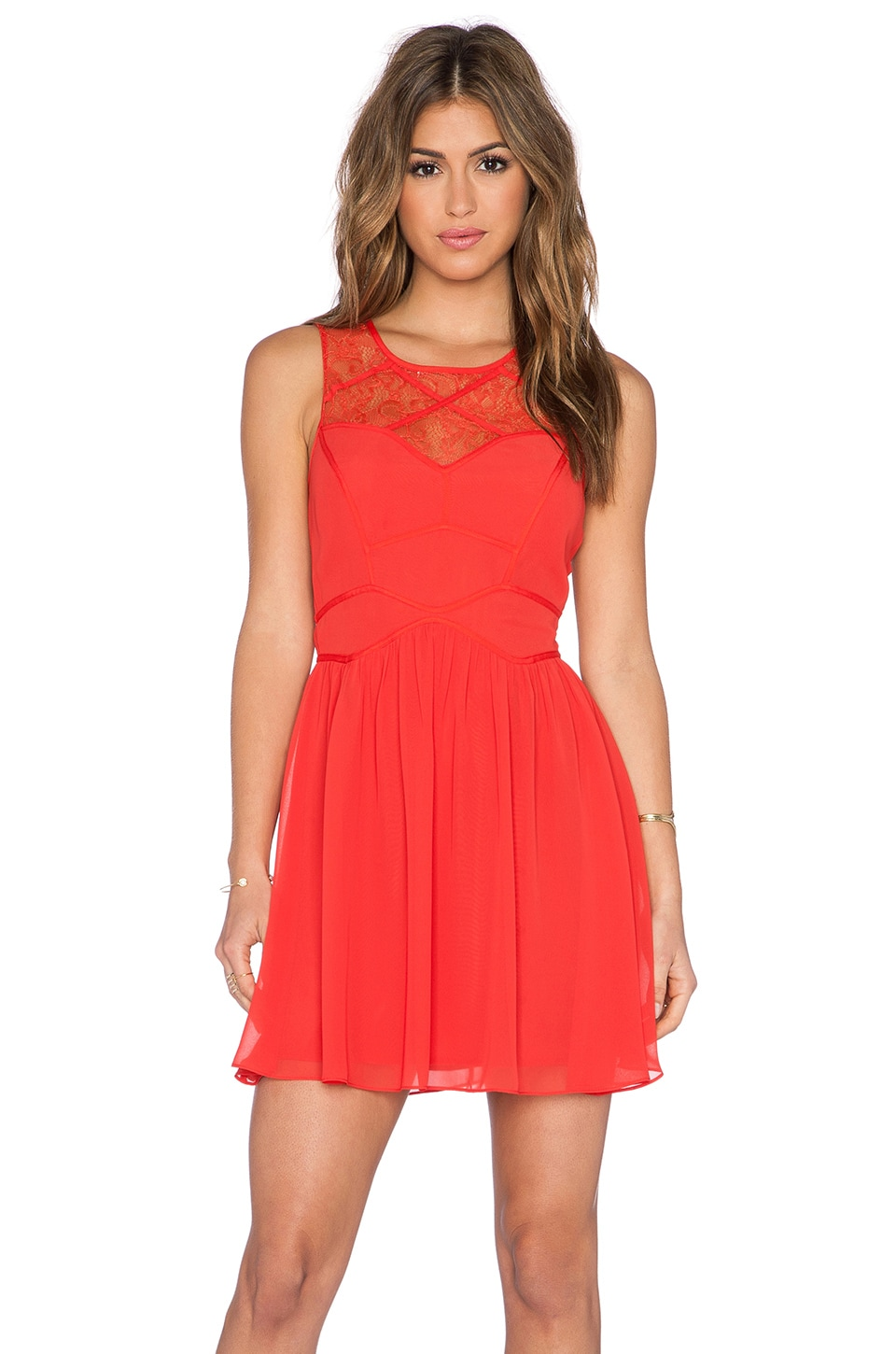BCBGeneration Woven Cocktail Dress in Lava