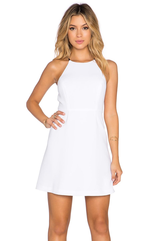 BCBGeneration Split Back Mini Dress in Optic White