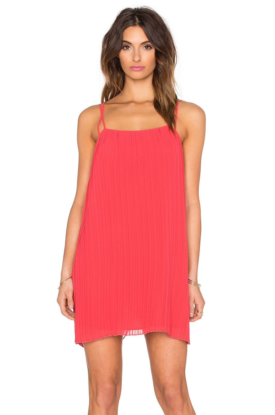 BCBGeneration Pleated Mini Dress in Cardinal