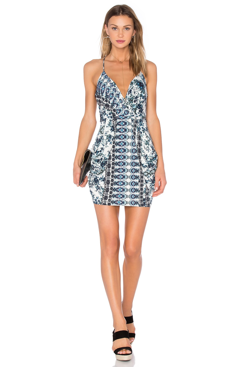 BCBGeneration Cocktail Faux Wrap Dress in Blue Multi