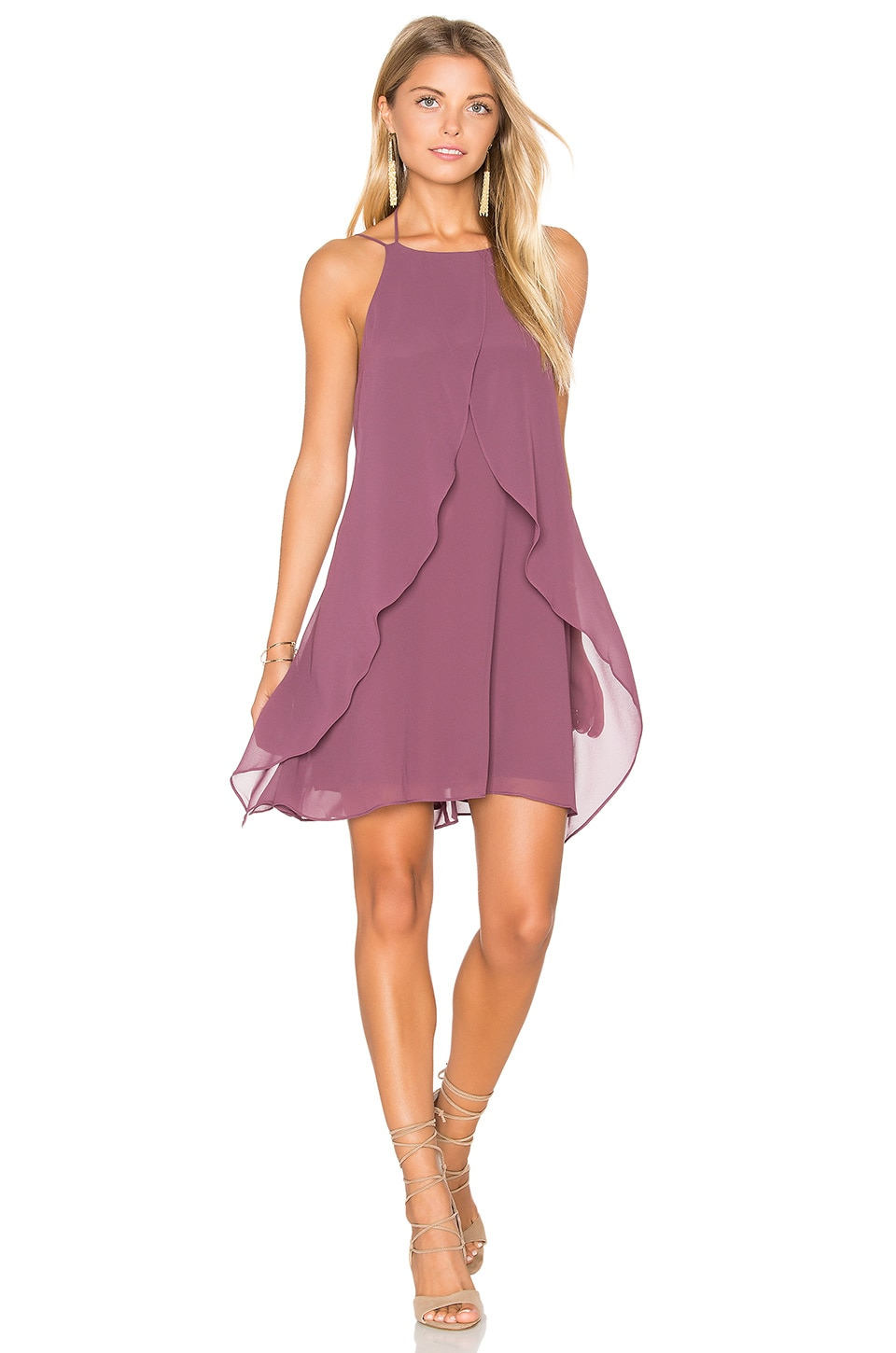 BCBGeneration Backless Shift Dress in Dusty Eggplant