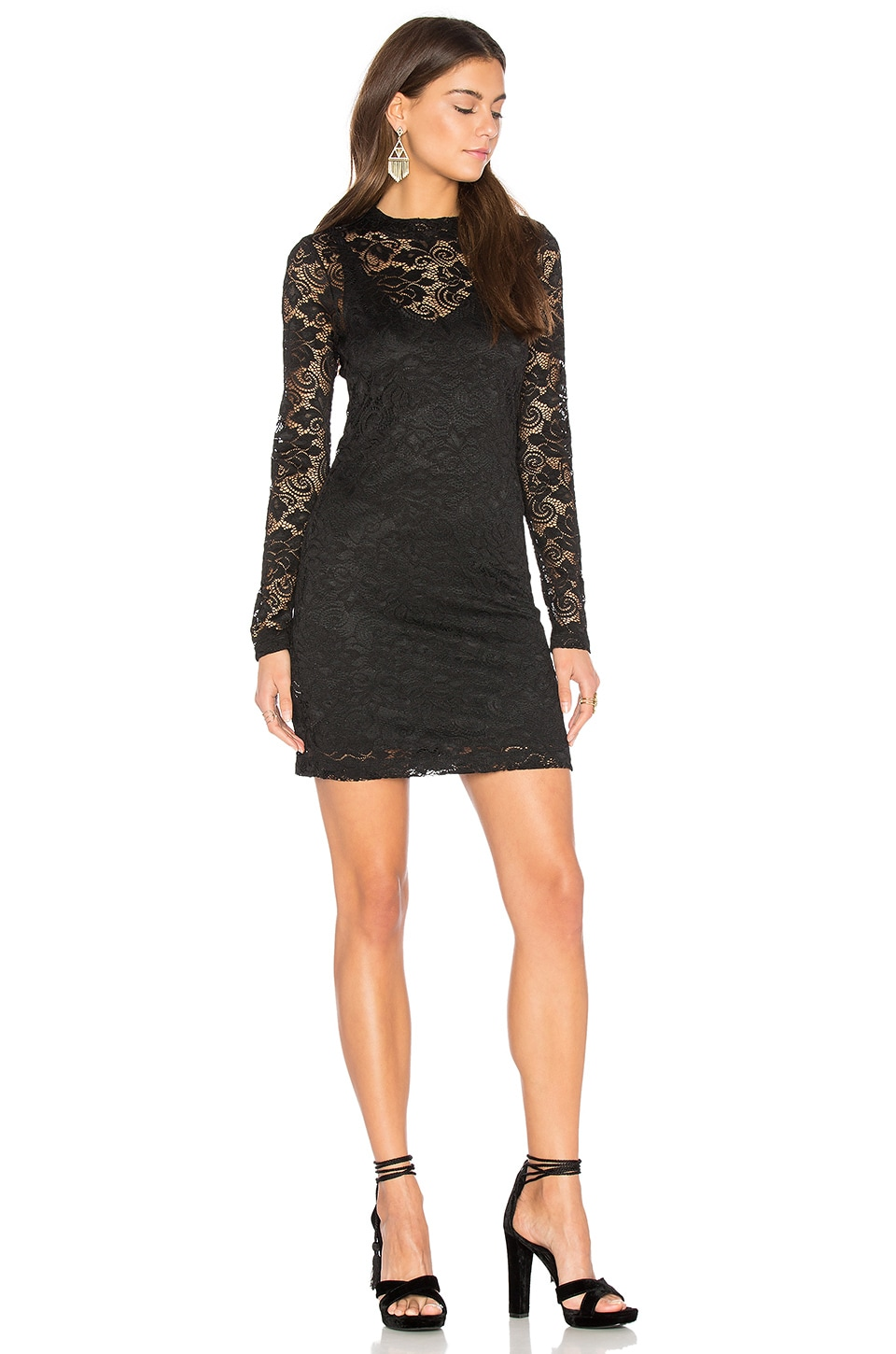 BCBGeneration Mock Neck Mini Dress in Black
