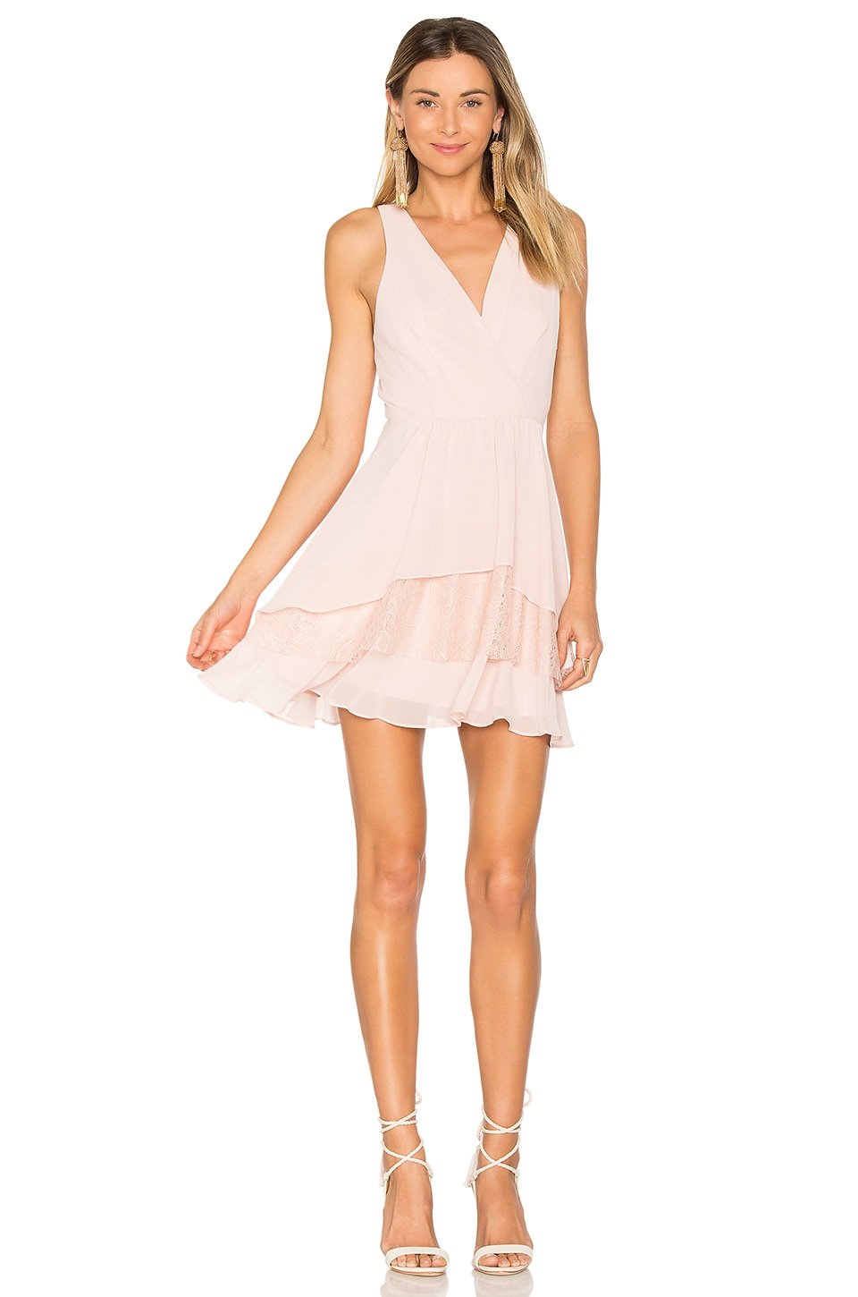 BCBGeneration Surplice Ruffle Dress in Rose Smoke