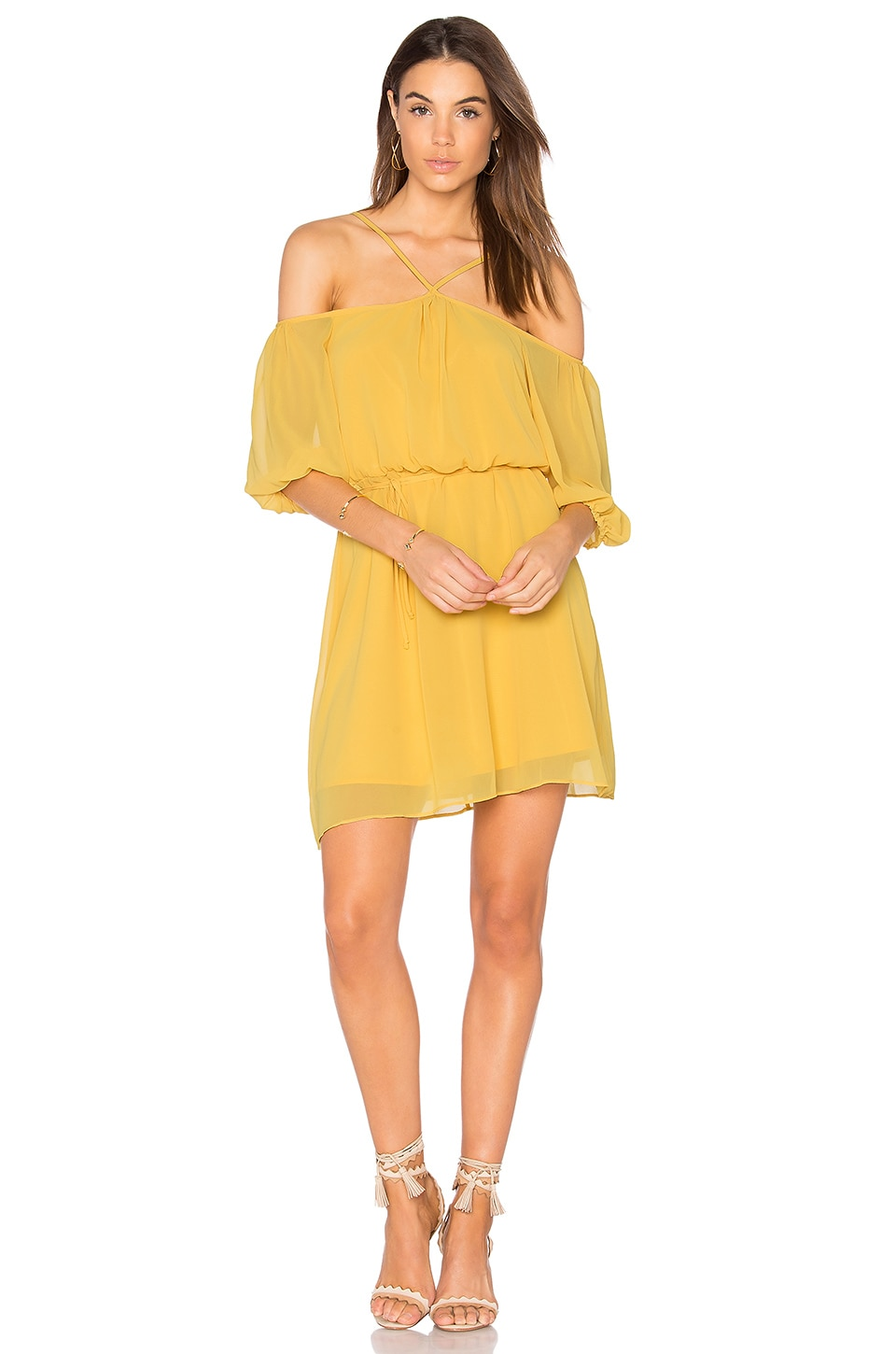 BCBGeneration Blouson Dress in Bright Amber
