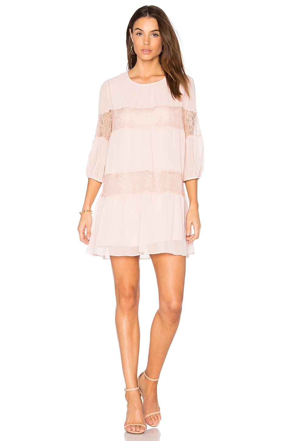 BCBGeneration Peasant Lace Dress in Rose Smoke