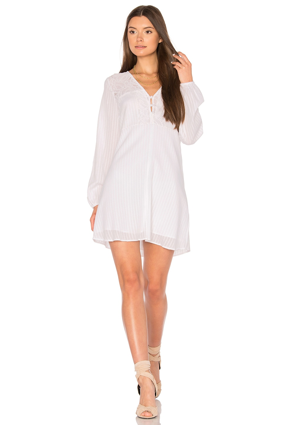 BCBGeneration Airy Button Dress in Optic White