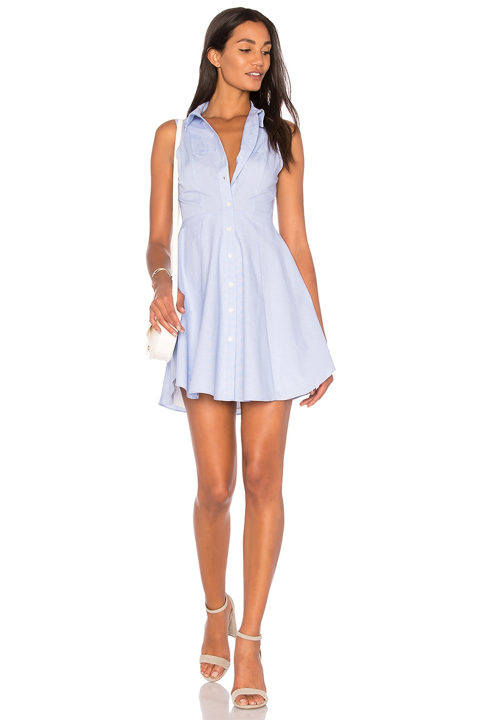 BCBGeneration Collared City Dress in Blue Combo