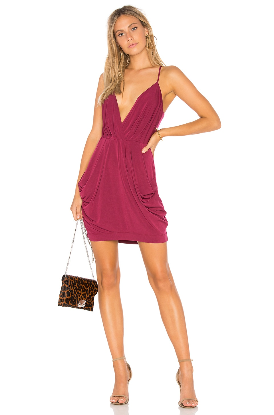 BCBGeneration Draped Dress in Purple Berry