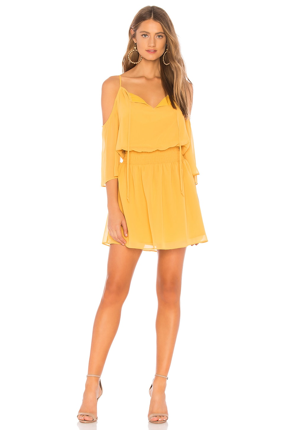 BCBGeneration Cold Shoulder Dress in Mineral Yellow
