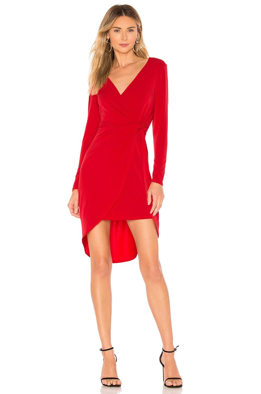 BCBGeneration Twist Surplice Dress in Ribbon Red