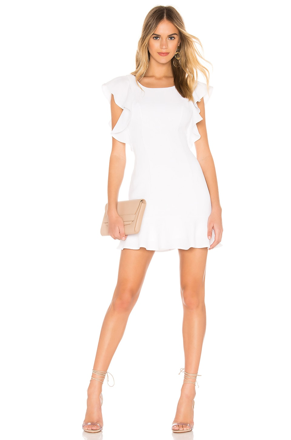 BCBGeneration Ruffle Sleeve Mini Dress in Optic White