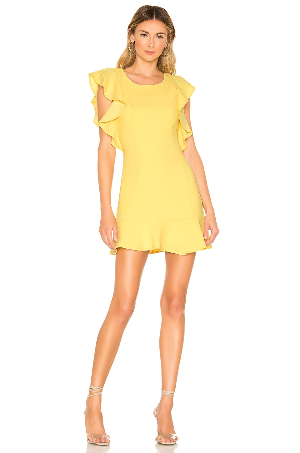 Bcbgeneration Dresses BCBGENERATION RUFFLE SLEEVE MINI DRESS IN YELLOW.