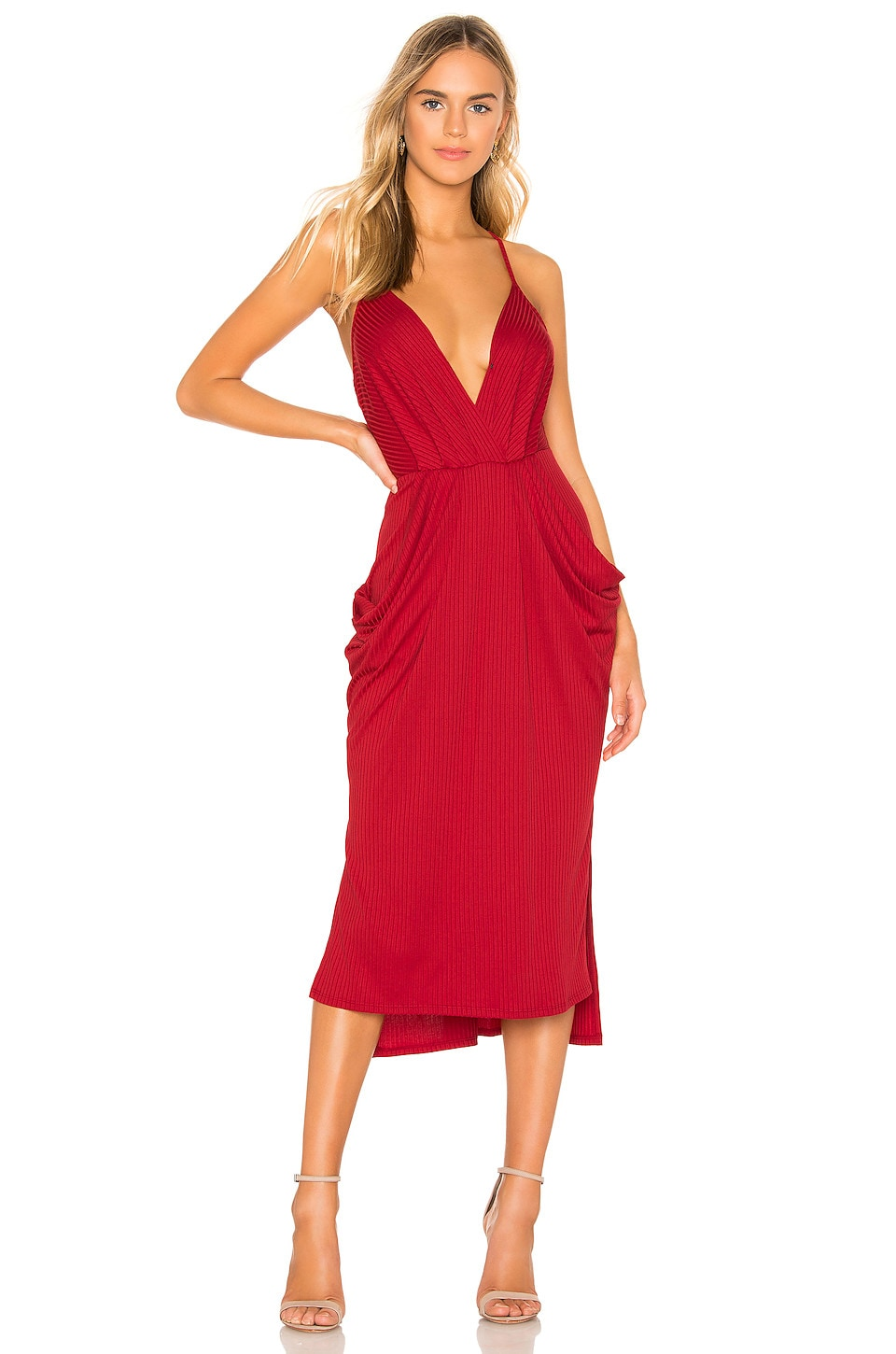 BCBGeneration Rib Knit Midi Dress in American Red