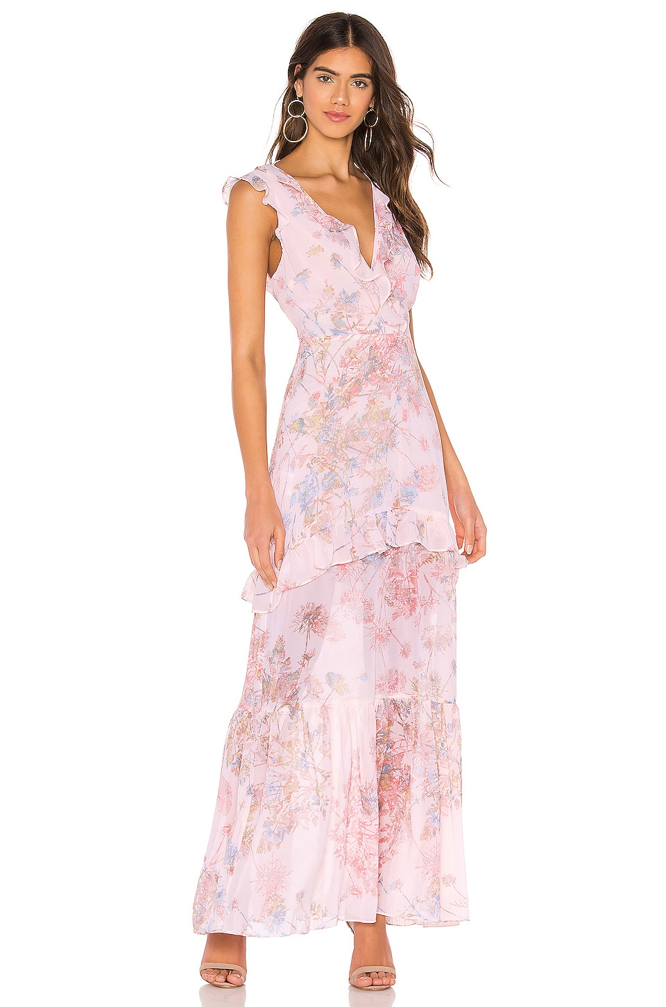 BCBGeneration Ruffle Maxi Dress in Light Pink