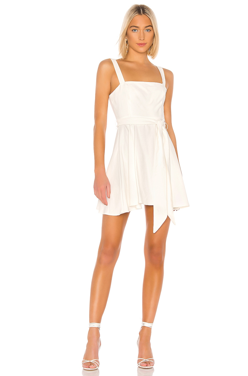BCBGeneration Tie Waist Mini Dress in Off White