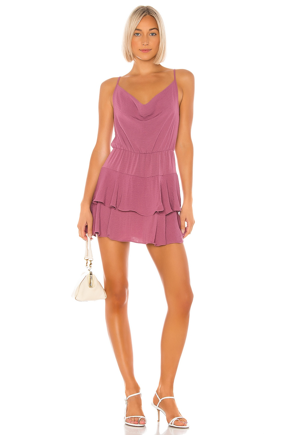 BCBGeneration Cowl Neck Mini Dress in Plum