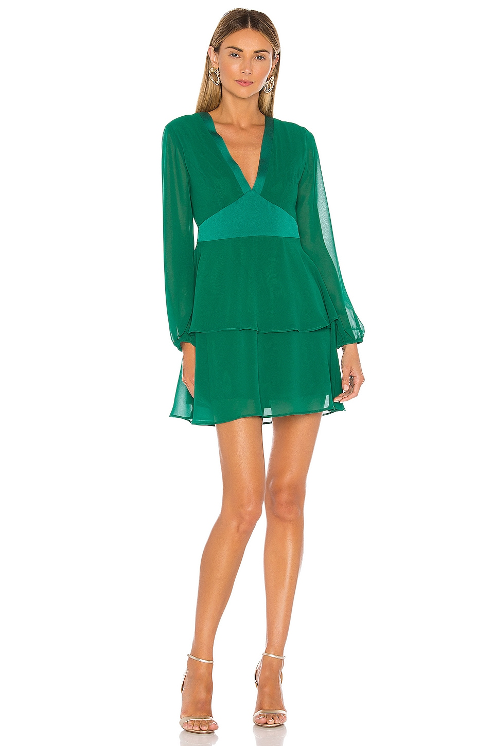 BCBGeneration Tiered Mini Dress in Pine Green