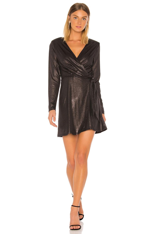 BCBGeneration Metallic Wrap Dress in Black