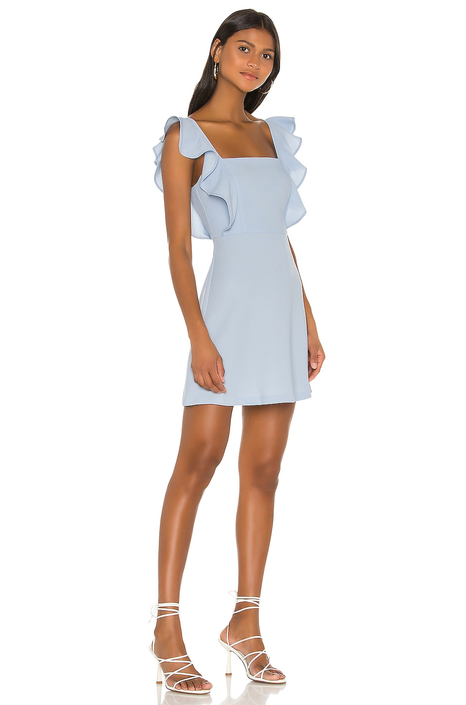 Ruffle Sleeve Square Neck Dress, view 2, click to view large image.
