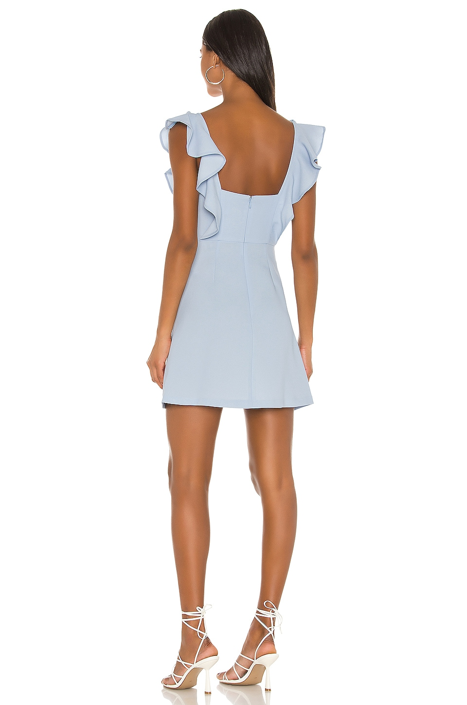 Ruffle Sleeve Square Neck Dress, view 3, click to view large image.