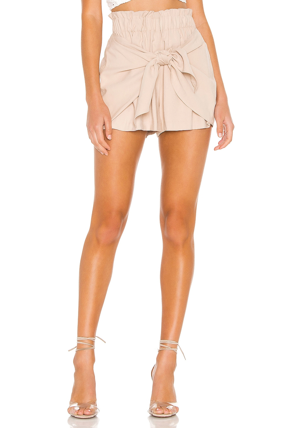 BCBGeneration Knot Front Short in Taupe