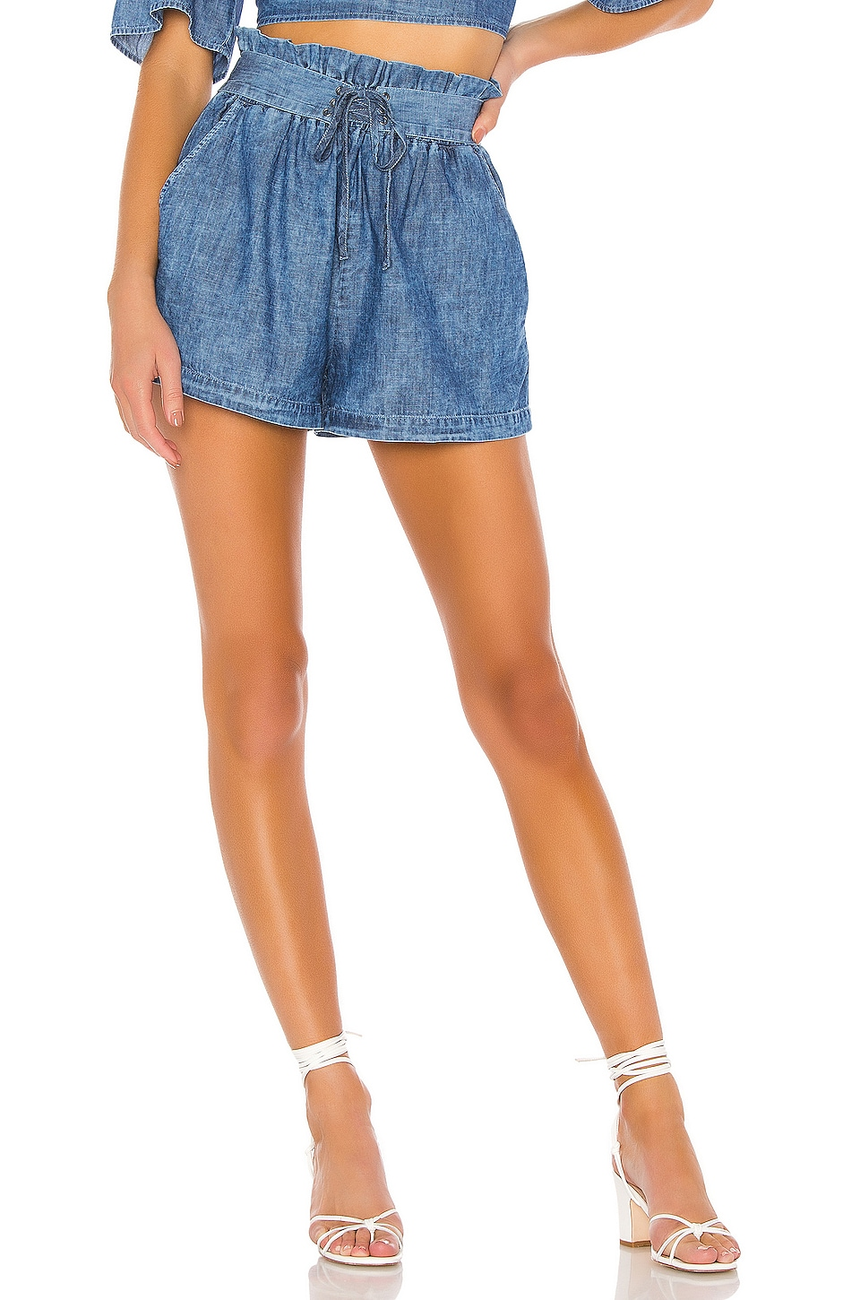 BCBGeneration Tie Front Short in Cloud Wash