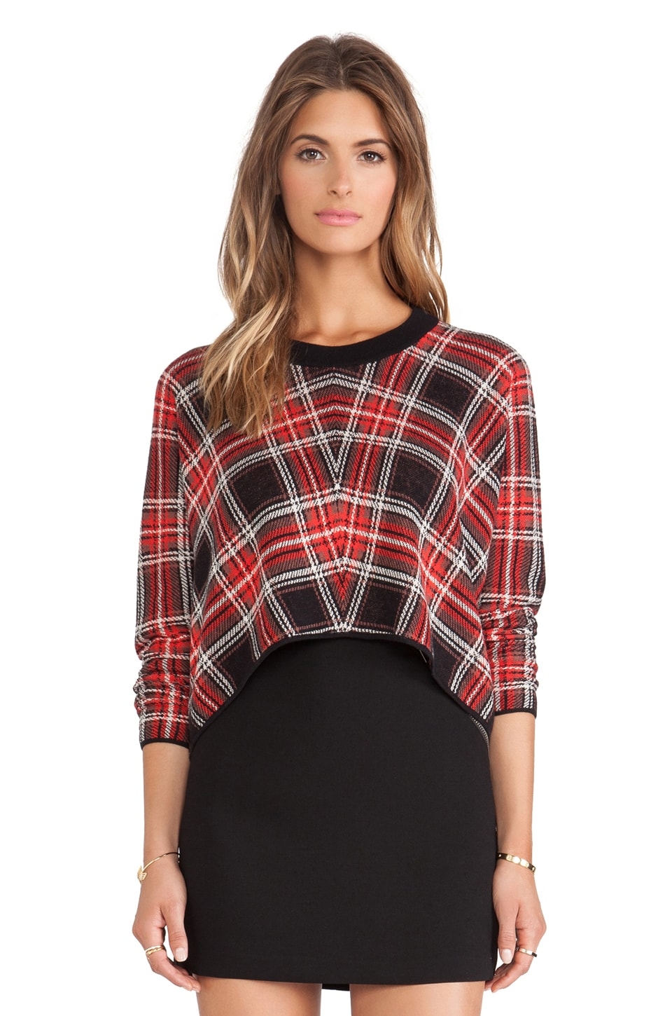 BCBGeneration Plaid Sweater in Black & Red Combo