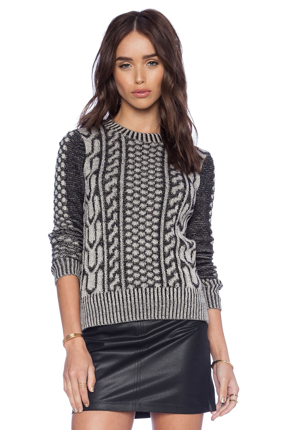 BCBGeneration Plaited Faux Cable Sweater in Black Combo