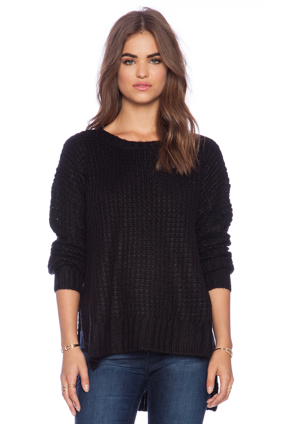 BCBGeneration Waffle Stitch Sweater in Black