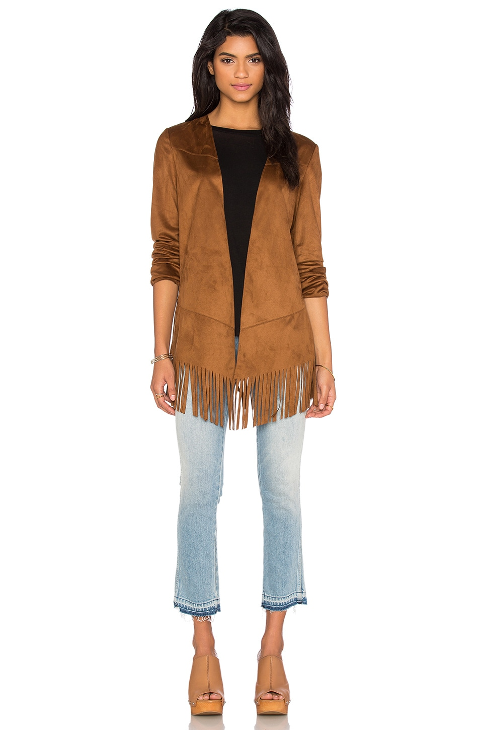 BCBGeneration Fringe Jacket in Cognac
