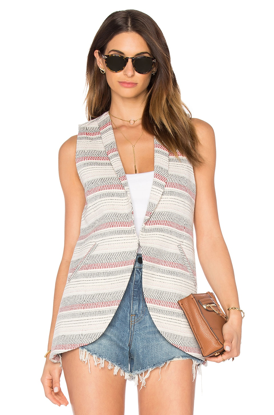 BCBGeneration Crochet Stripe Sleeveless Blazer in Sand Combo
