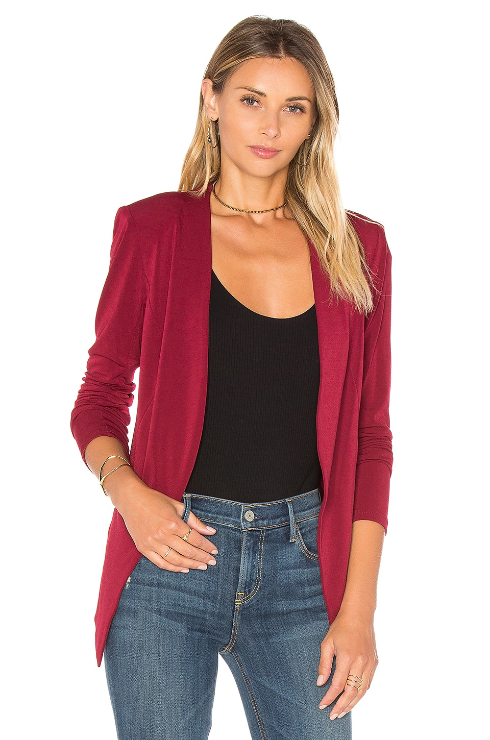 BCBGeneration Open Front Jacket in Wine Red