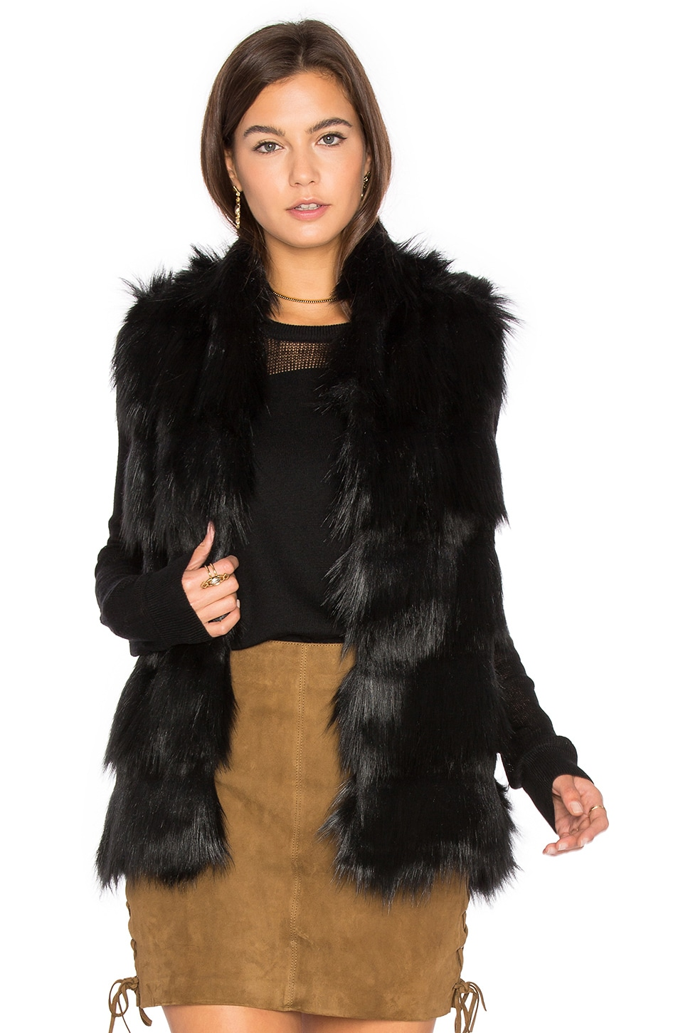 BCBGeneration Faux Fur Shell Vest in Black