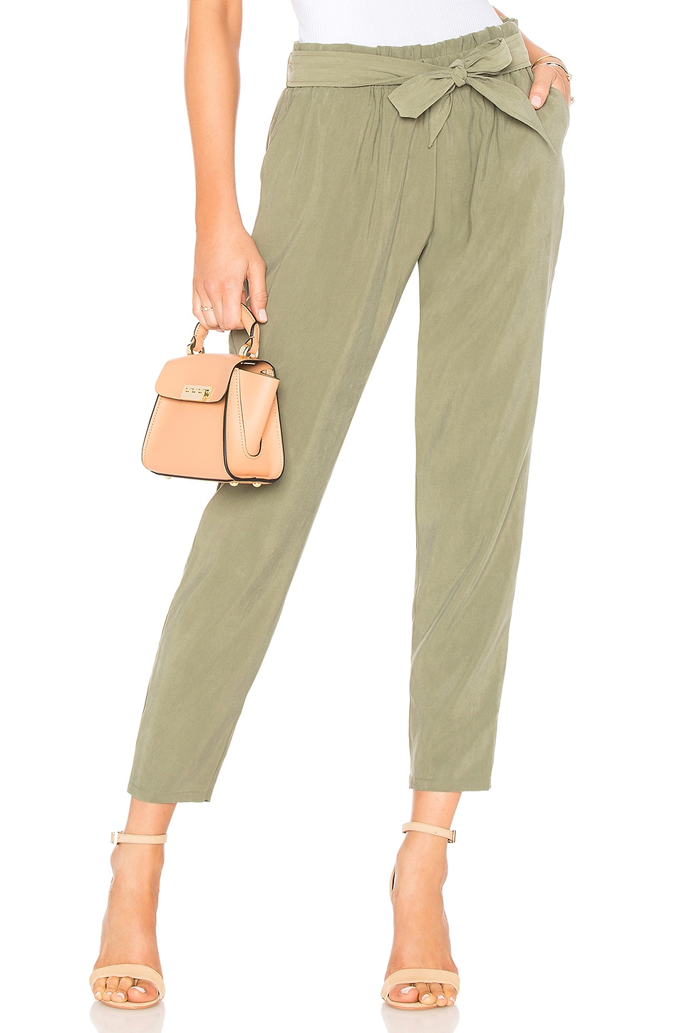 Self Tie Pant In Dusty Olive
