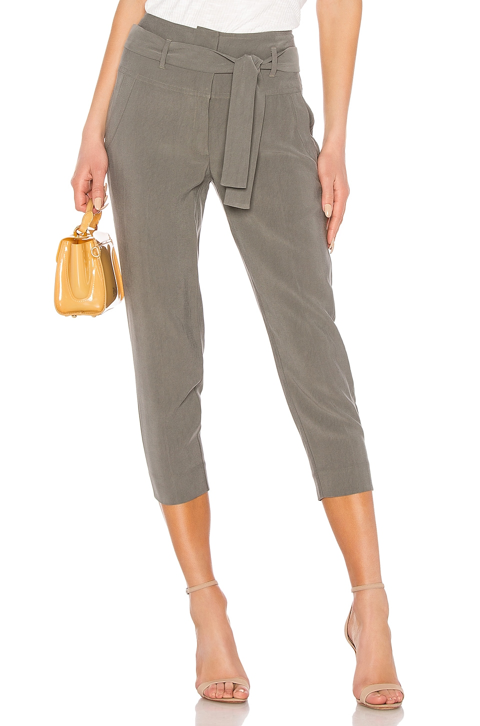 BCBGeneration Paperbag Waist Trouser in Dark Moss