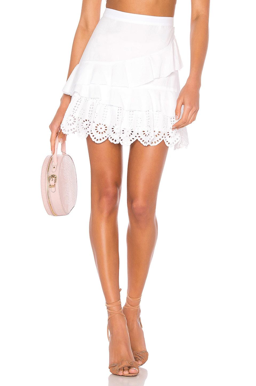 BCBGeneration Ruffled Mini Skirt in Optic White