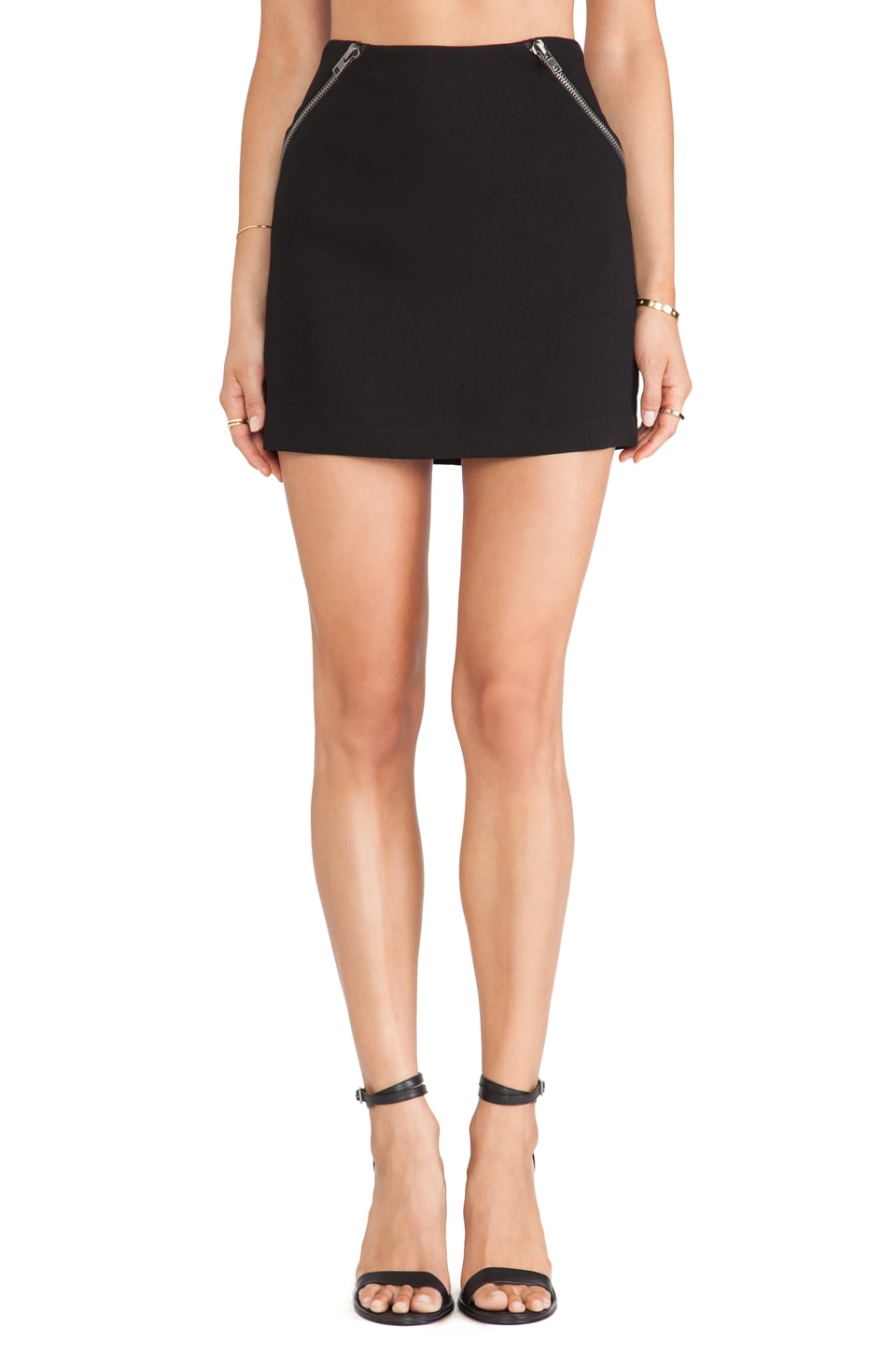 BCBGeneration Zipper Detail Mini Skirt in Black
