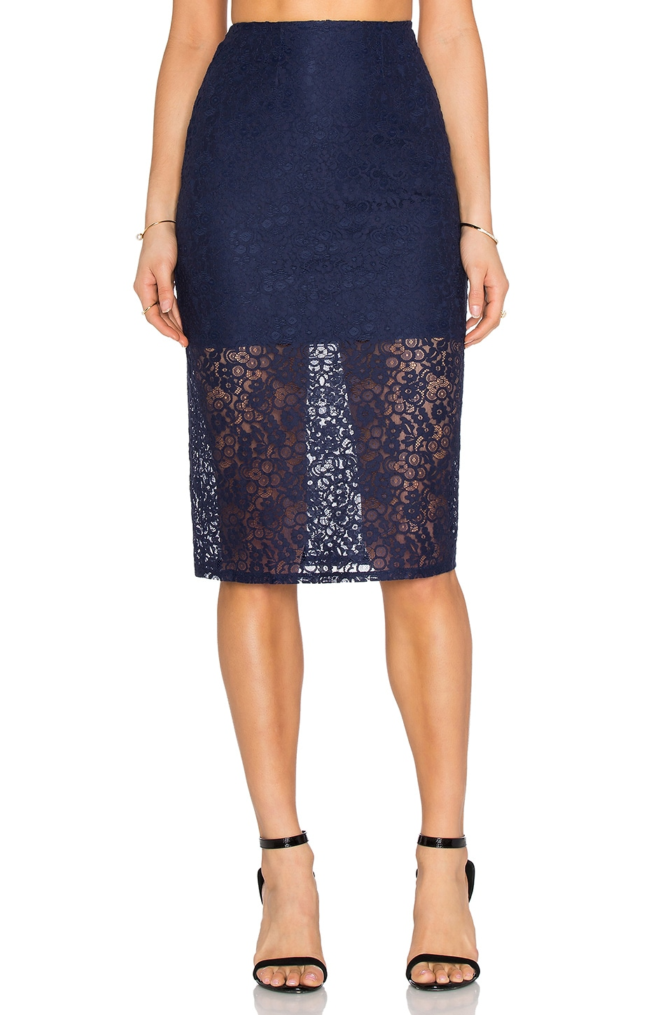 BCBGeneration Lace Pencil Skirt in Deep Blue