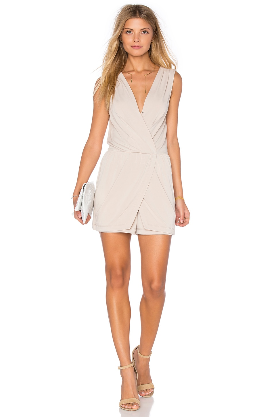 BCBGeneration Drape Wrap Romper in Sand
