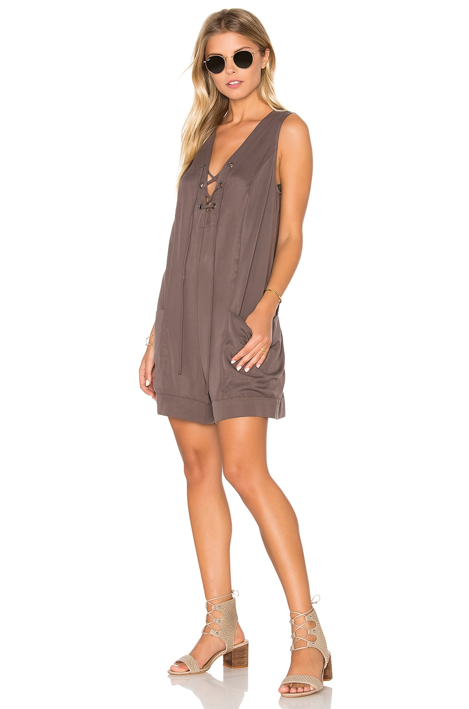 BCBGeneration Sleeveless Romper in Coffee Bean