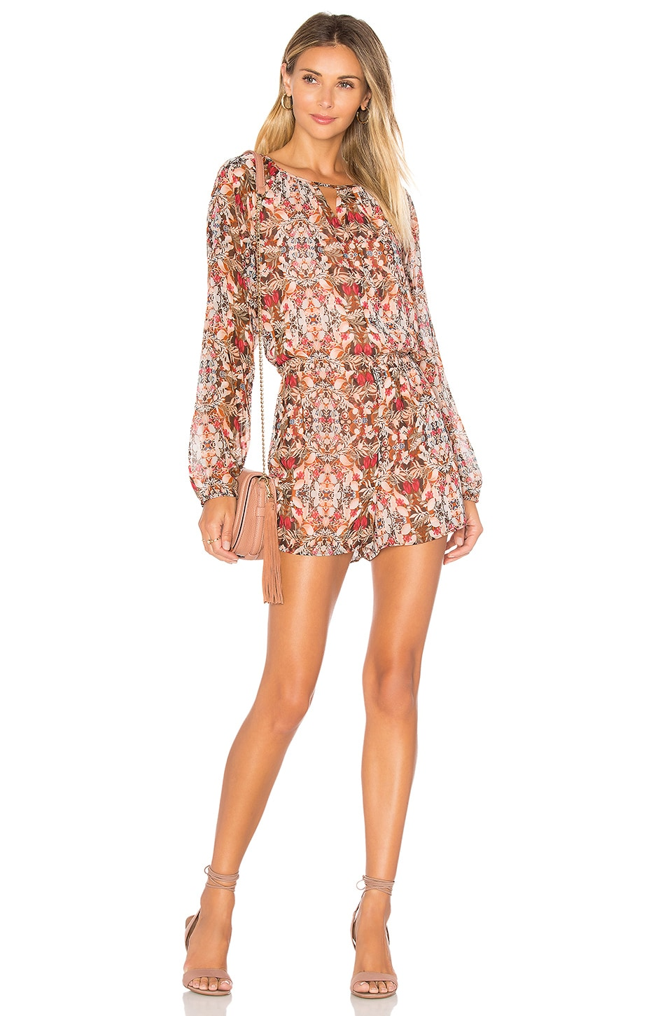 BCBGeneration Dolman Sleeve Romper in Coffeebean Multi