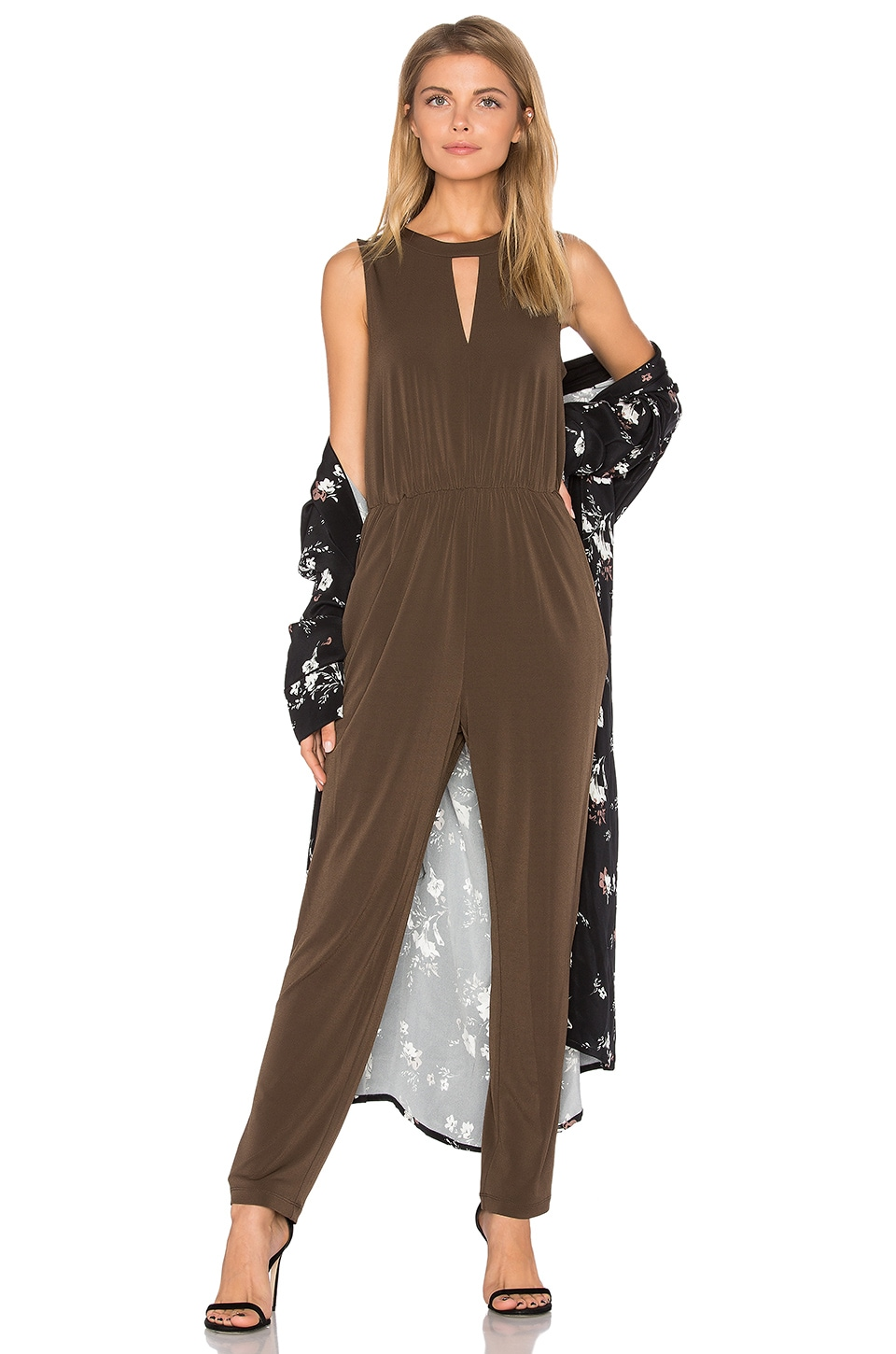 BCBGeneration Triangle Front Jumpsuit in Coffeebean
