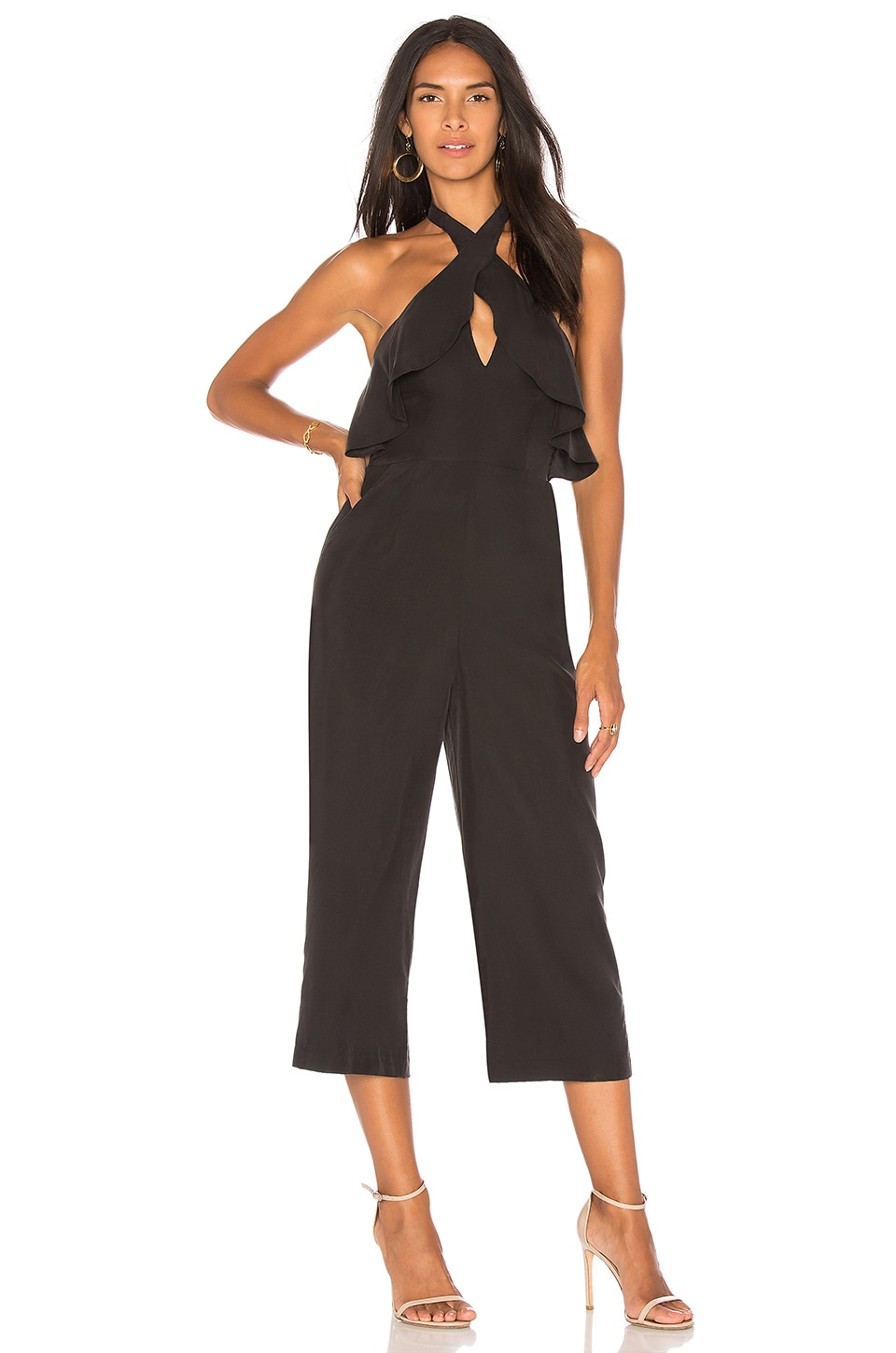 Ruffle Halter Jumpsuit In Black by BCBGeneration