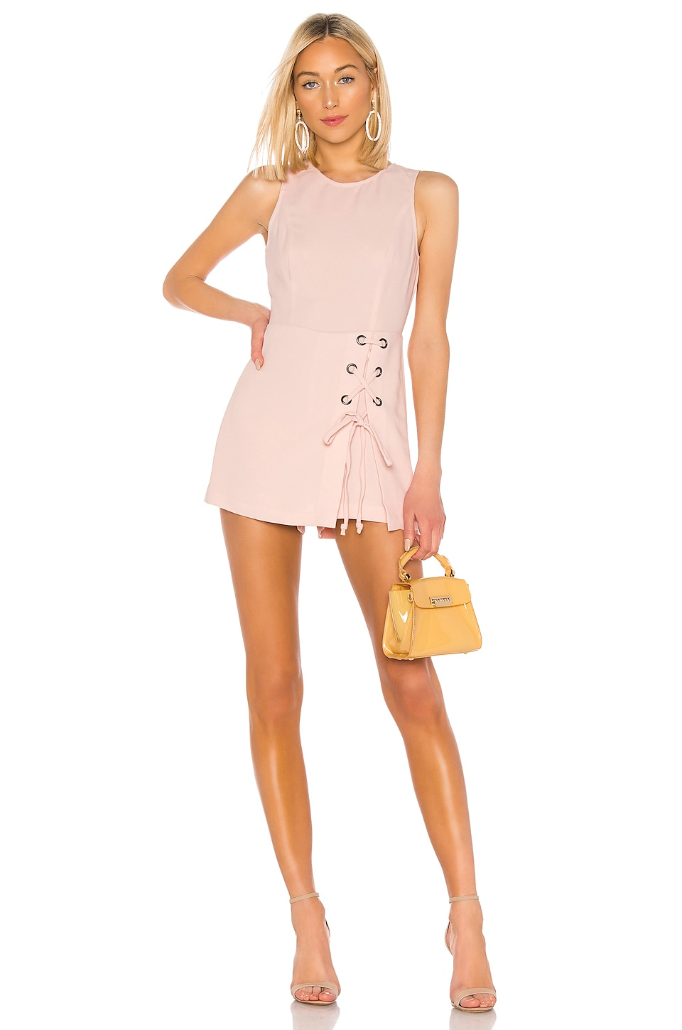 BCBGeneration Lace Up Romper in Rose Smoke
