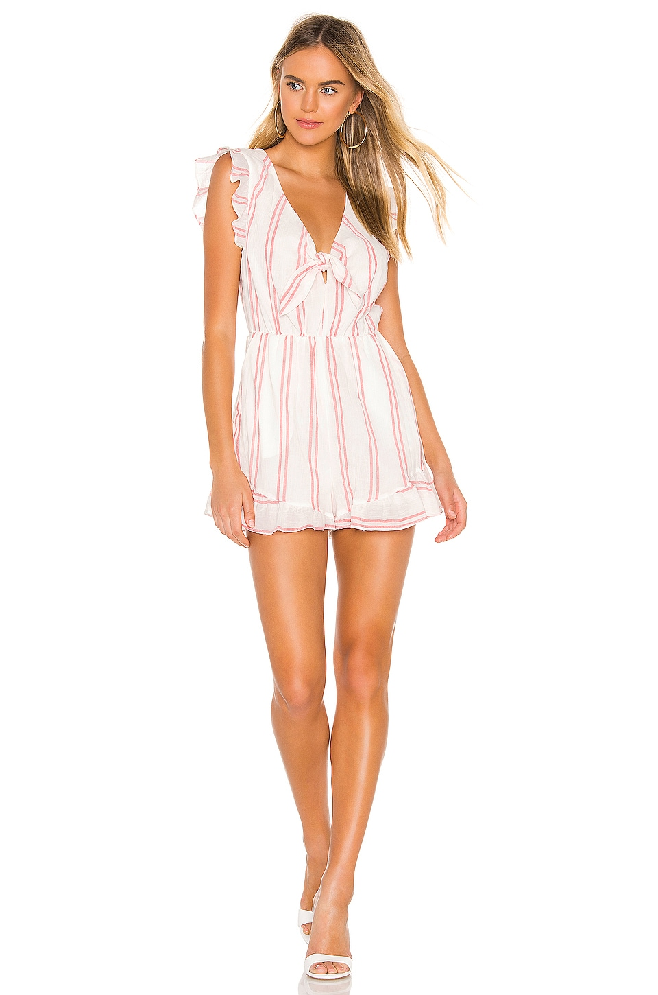 BCBGeneration Knot Front Romper in Optic White
