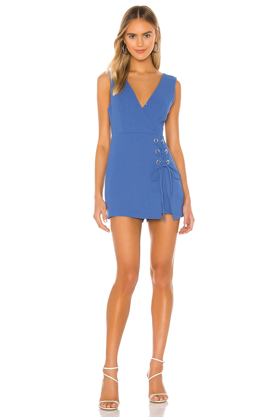BCBGeneration Lace Up Romper in Bright Cobalt