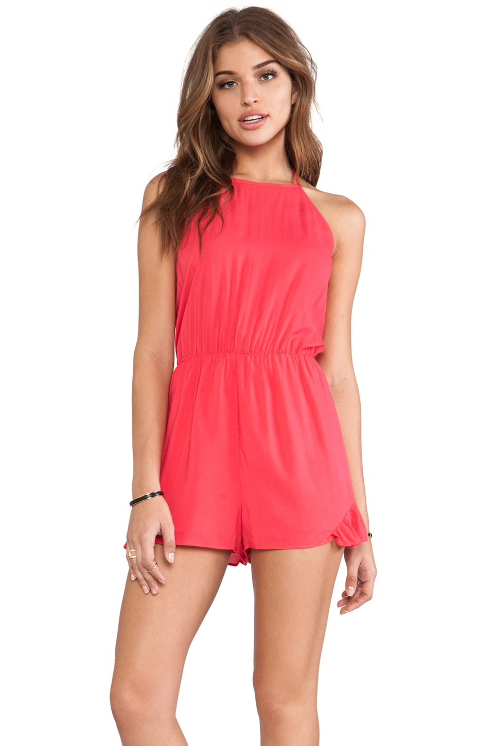 BCBGeneration Side Ruffle Inset Romper in Teaberry