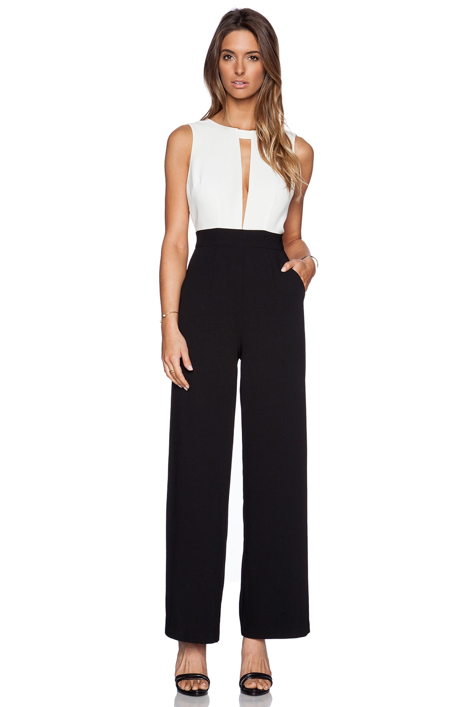BCBGeneration Wide Leg Jumpsuit in Whisper White Combo