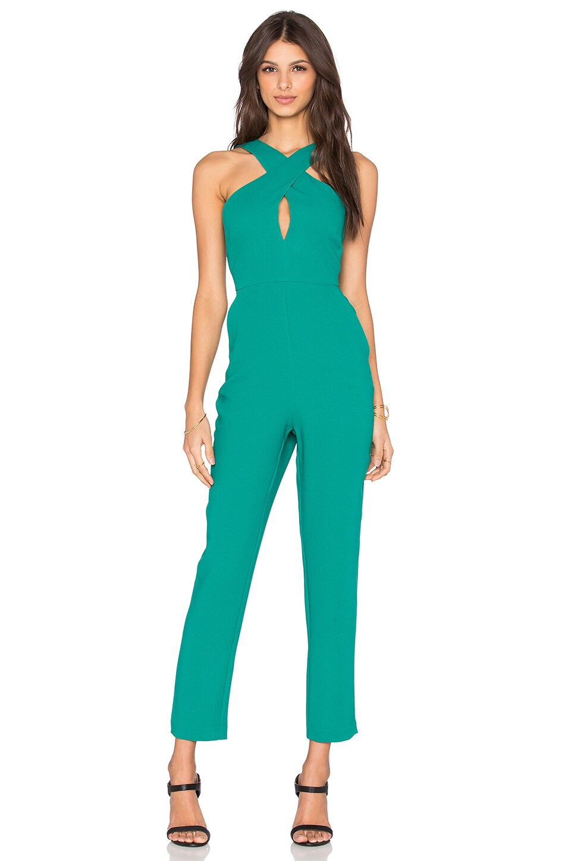BCBGeneration Skinny Leg Jumpsuit in True Emerald