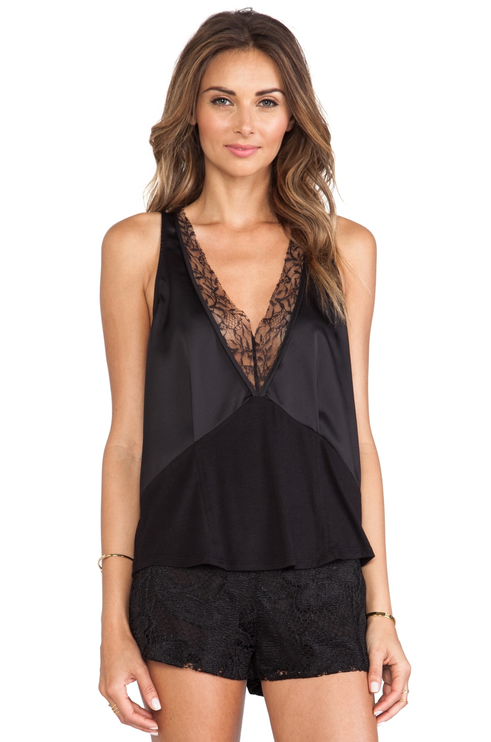 BCBGeneration Low V-Neck Top in Black